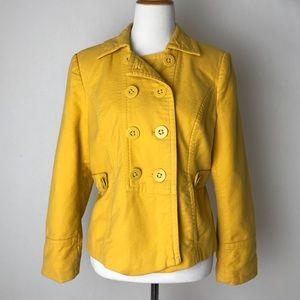 LOFT | sunflower yellow corduroy pea coat jacket
